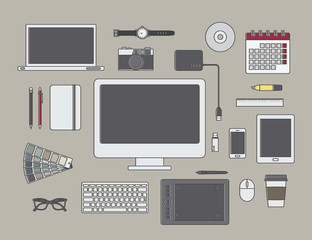 graphic designer items and tools