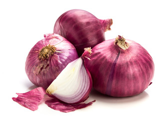 The Fresh red onion sliced bulb and onion peel isolated on white background