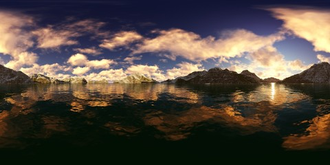 3d rendering of a lake panorama with snowy peaks