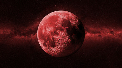 red Moon in front of the Milky Way galaxy