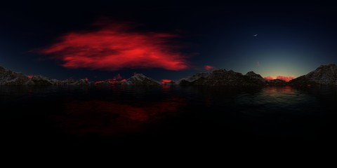 3d rendering of a lake panorama with snowy peaks Wall mural
