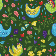 Seamless bright vector spring pattern with birds, hearts and flowers in cartoon style on dark green background