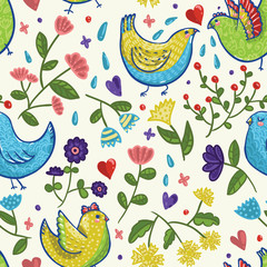 Seamless bright vector spring pattern with birds, hearts and flowers in cartoon style on light background