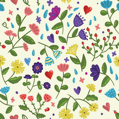 Seamless beauty floral vector pattern on light background in cartoon style  with hearts, drops and berries