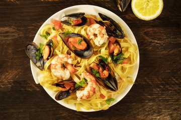 Seafood pasta dish with mussels and shrimps