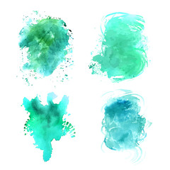Set of teal vector abstract watercolor textures
