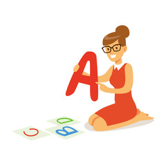 Cheerful teacher sitting on the floor and showing the letter A. Colorful cartoon character vector Illustration
