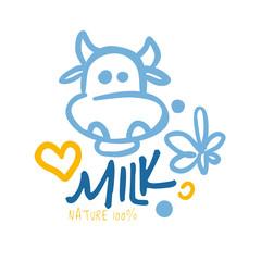 Nature milk product logo symbol. Colorful hand drawn illustration