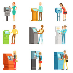People using electronic self service terminals. Payments and receive money. ATM machine money deposit and withdrawal. Set of colorful cartoon detailed vector Illustrations