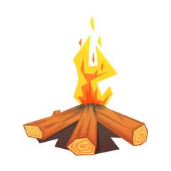 Burning bonfire, colorful vector illustration