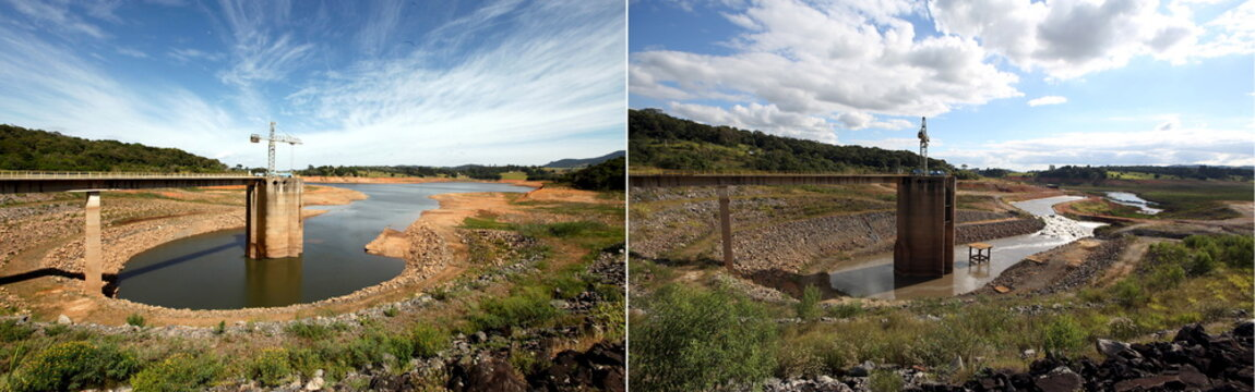A combination photo shows the different water levels at the Jaguari reservoir in Joanopollis