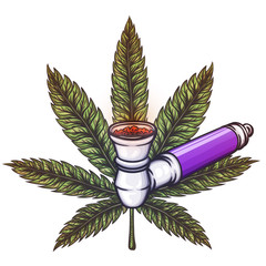 Cannabis leaf with pipe.