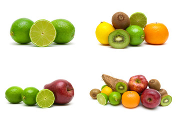 Lime and other fruits isolated on white background.