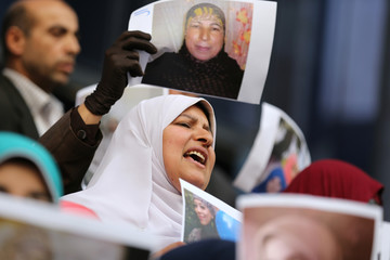 Female relatives of women prisoners shout slogans against the military and the interior ministry at an event called 'Release Our Girls' during International Women's Day in front of the Press Syndicate in Cairo