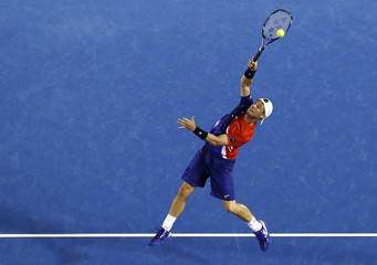 Australia's Hewitt stretches for a shot during his second round match against Spain's Ferrer at the Australian Open tennis tournament at Melbourne Park