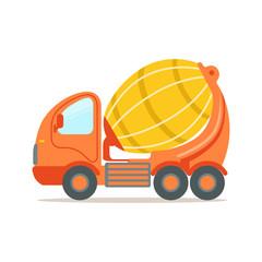 Orange concrete mixing truck. Construction machinery equipment colorful cartoon vector Illustration