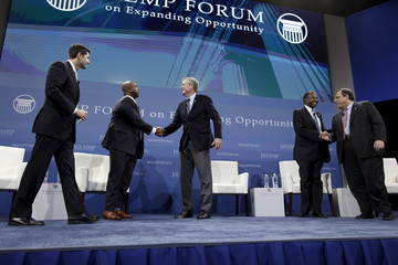 U.S. Speaker Ryan and U.S. Senator Scott share the stage with U.S. Republican presidential candidates Bush, Dr. Carson and Governor Christie during the 2016 Kemp Forum on Expanding Opportunity in Columbia