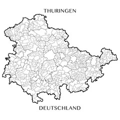 Detailed map of the Free State of Thuringia (Germany) with borders of municipalities, municipalities associations, districts, and state. Vector illustration