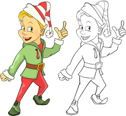 Canvas Prints Baby room Illustration of Cute Elf. Cartoon Character Coloring Book