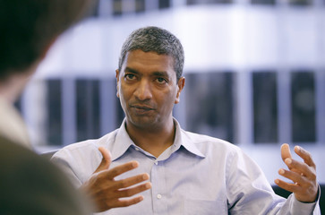 Bloom Energy CEO K.R. Sridhar gestures during the Reuters Alternative Energy Summit in San Francisco