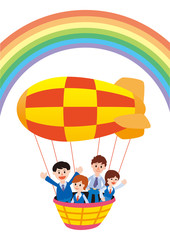 Foto auf Leinwand Regenbogen 気球と社員旅行