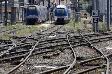 French regional trains are seen at the Marseille Blancarde station in Marseille