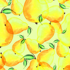 Seamless watercolor pattern with a picture of a pear fruit.