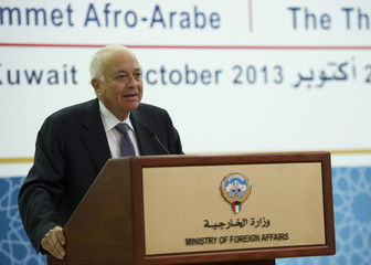 Arab League Secretary-General Elaraby speaks during a news conference in Kuwait City