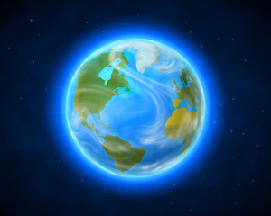 Blue shining vector Earth in space