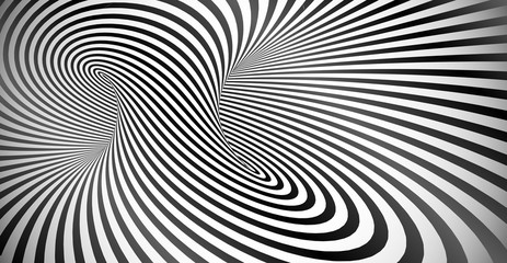 Vector optical illusion black and white twisted stripes background