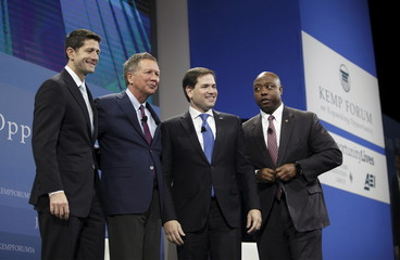 Ryan, Kasich, Rubio and Scott pose for a group photo at the 2016 Kemp Forum on Expanding Opportunity in Columbia