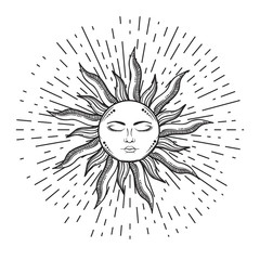 Beautiful elegant sun face symbol Tattoo design.Vector illustration. Alchemy symbol
