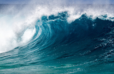 A big breaking Ocean wave on the north shore of Oahu Hawaii