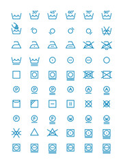 Washing and wringing, drying and ironing vector symbols for clothes labels. Garment care line icons