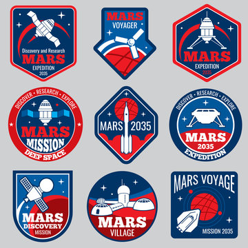 Mars colonization vector retro space logos and labels set