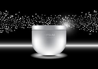 Anti-aging cream with small bubble white lights on dark background vector cosmetic ads template