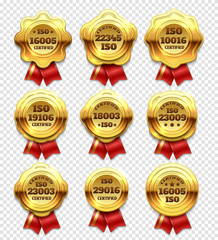 Golden certified rosettes, gold verify tokens and guarantee seals vector set