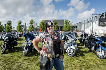 Young, of Joilet, Illinois, poses for a picture during a Harley-Davidson Museum event in Milwaukee, Wisconsin