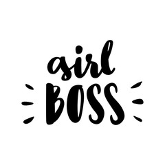 "The calligraphic quote  ""Girl boss"" handwritten of black ink on a white background. It can be used for sticker, patch, phone case, poster, t-shirt, mug etc."