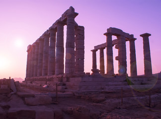 The temple of Poseidon in Greece. The ancient civilization.