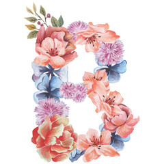 Letter B of watercolor flowers, isolated hand drawn on a white background, wedding design, english alphabet