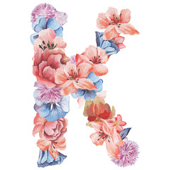 Letter K of watercolor flowers, isolated hand drawn on a white background, wedding design, english alphabet