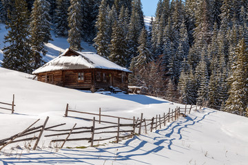 Wooden house in a nature area covered with freshly fallen snow.