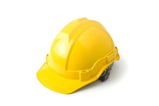 safety helmet yellow color on white background, hard protect head hat on isolated, worker officer protection, engineer equipment, carpenter tool, under construction