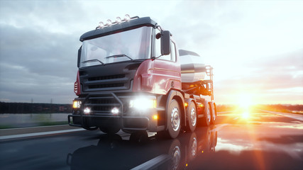 Concrete mixer truck on highway. Very fast driving. Building and transport concept. 3d rendering.