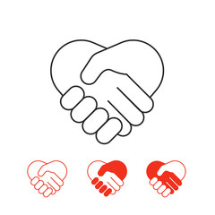 Shaking hands vector icons collection isolated on white