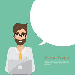 business man working with laptop to communication. vector people character at office.