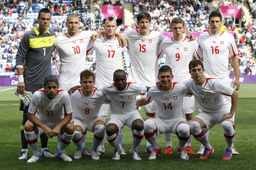 Switzerland's players line-up before start of men's Group B football match againt South Korea in London 2012 Olympic Games at City of Coventry stadium