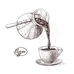 Vector sketch illustration of fresh brewed hot and flavored morning coffee from the turks poured into the cup. Drink with splashes and steam pouring into the bowl. Imitation vintage engraving.