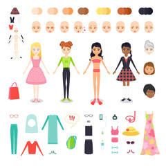 Vector flat set illustration of figure pretty girl. Character constructor of woman with different skin color, hair and age. Female clothing and accessories for seaside holiday, sports, work and study.